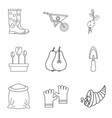 bag icons set outline style vector image vector image