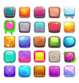 big set cartoon square buttons vector image vector image