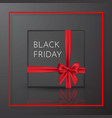 black friday realistic black gift box with red vector image