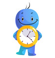 blue cartoon caracter holding yellow clock on vector image vector image