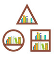book shelf in various shape flat design vector image vector image
