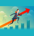 business man run and jump pass the graph on the vector image vector image