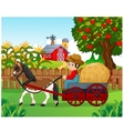 Cartoon farmer with hay cart vector image