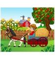 Cartoon farmer with hay cart vector image vector image