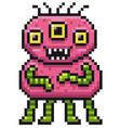 cartoon monster - pixel design vector image