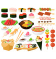 cartoon oriental asian cuisine street food vector image