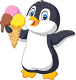 cartoon penguin holds an ice cream cone vector image vector image