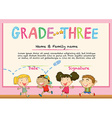 Certificate for grade three students vector image vector image