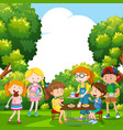 children eating food in the park vector image