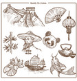 china travel symbols and sketch landmarks vector image