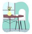 cozy kitchen round table vase dishes white vector image