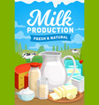 dairy farm milk food organic products poster vector image vector image