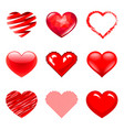 different hearts icons photo realistic set vector image vector image