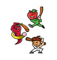 fruit baseball sports mascot collection vector image