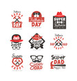 happy fathers day logo set super dad vector image