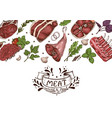 horizontal background with meats vector image