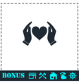 Human hands holding and protect heart icon flat vector image vector image