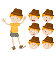 Little boy with different emotions vector image vector image