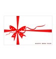 New Year Gift Card with Red Ribbon vector image vector image