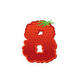 number 8 strawberry font red berry lettering vector image