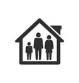 people quarantine icon stay in home with family vector image vector image