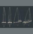 sailing yacht blueprints vector image vector image