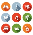 set france icons army paris eiffel vector image vector image