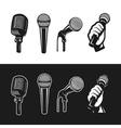 set monochrome microphones vector image vector image