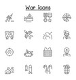 set war related line icons contains such icons vector image vector image