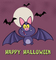 smiling vampire bat cartoon character flying vector image vector image
