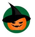 spooky halloween pumpkin in wizard hat background vector image vector image
