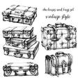 Suitcases and bags icon set hand drawn in vintage vector image