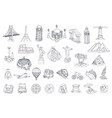 travel tourist attraction icon set vector image vector image
