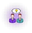 Two businessmen and lightbulb icon comics style vector image