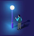 ultraviolet neon street lamp isometric 3d vector image vector image