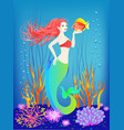 underwater world little mermaid fishes vector image vector image