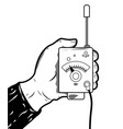 vintage logo with walkie-talkie vector image vector image