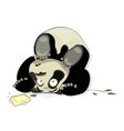 panda rests on his head vector image