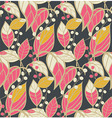Seamless floral pattern with hand drawn leaves vector image
