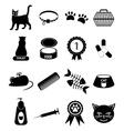 Pet cat icons set vector image