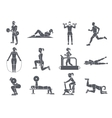 Gym Sport Exercises Icons vector image