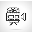 Movie camera black line icon vector image