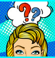 question sing woman face in pop art style vector image