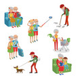 set of characters in a flat style cartoon vector image
