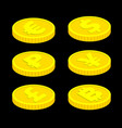 3d isometric coins isolated on black vector image