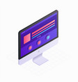 3d isometric computer screen in flat design vector image