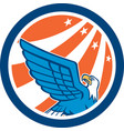 American Eagle Flying Looking Up Retro vector image vector image