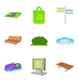 amusement park icons set cartoon style vector image vector image