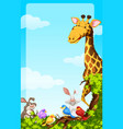 background template with wild animals vector image vector image