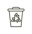 bin waste recycle environment ecology line and vector image